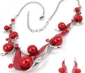 Nice Fashion style silver plated red pearl Necklace and Earrings set H3187