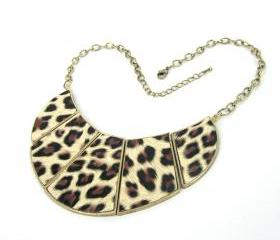 Vintage Gold Leopard drop color Choker Bib Link Statement Necklace H4258