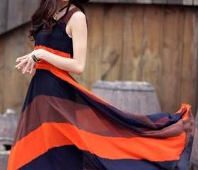 Orange Blue Boho Bohemian Chiffon Stripes Summer Beach Long Maxi Dress H9971