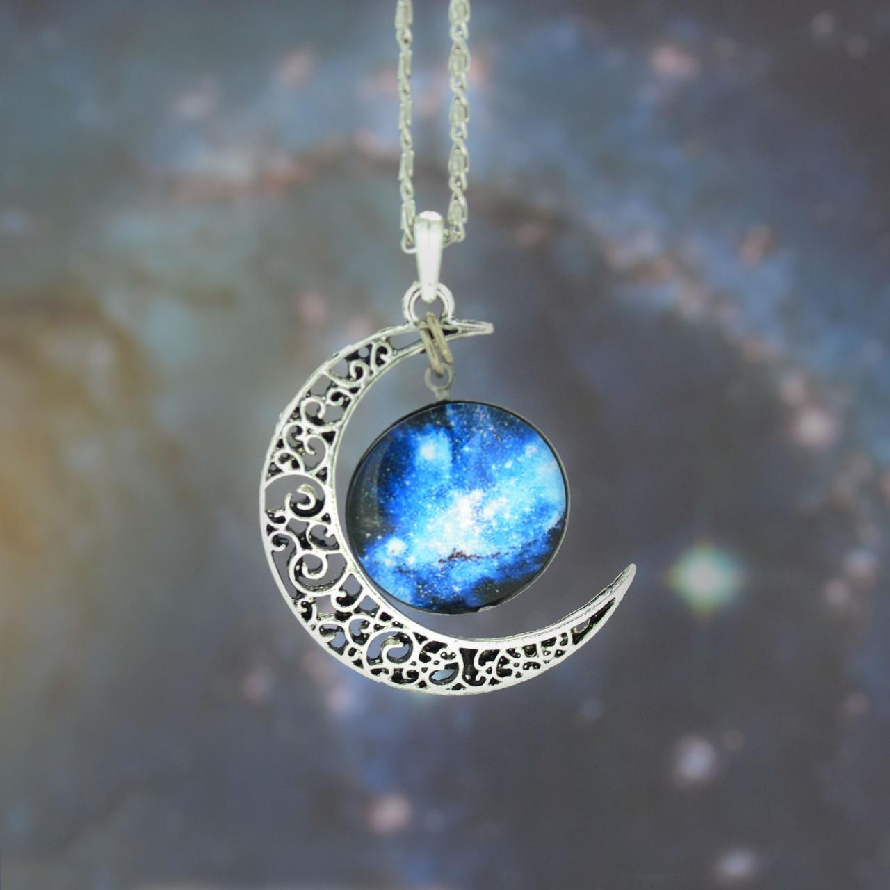galaxy necklace silver moon pendant necklace moon necklace charm necklace bib necklace hollow. Black Bedroom Furniture Sets. Home Design Ideas