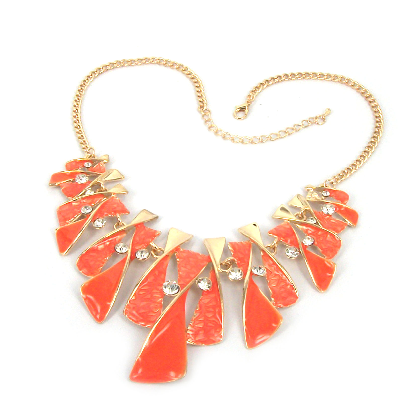 Women Fashion Style Orange Drop Oil Rhinestone Bib Gold Link Necklace H5099 on Luulla